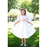 NeedyBee Floral Ivory Wedding Dress For Little Princess of 5-6 Years of Age