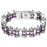 Aoiy Herren-Armband, Lila und Silberfarbenen Fahrradkette, Edelstahl, Groß und Schwer, 22,3cm, ccb023