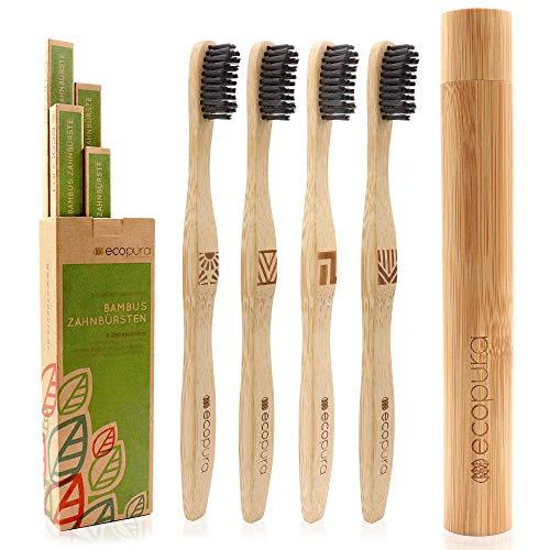 ecopura® Bambus Zahnbürsten, 4er Set Holzzahnbürste mit Etui, Nachhaltig, Vegan, BPA frei, Zahnbürste aus Holz mit Aktivkohle für weissere Zähne