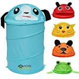 HOME CUBE TM Multipurpose Foldable & Collapsible Pop-Up Round Laundry Bag Basket with Zippered Lid for Kids - (Random Colors and Patterns)