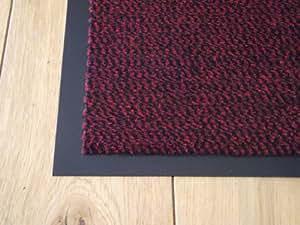 Tapis de Sol Extra Large Rouge Sombre PVC Noir Bord Pile Caoutchouc Barrière Porte Entrée Cuisine Utilité Poussière 90cm x 150cm