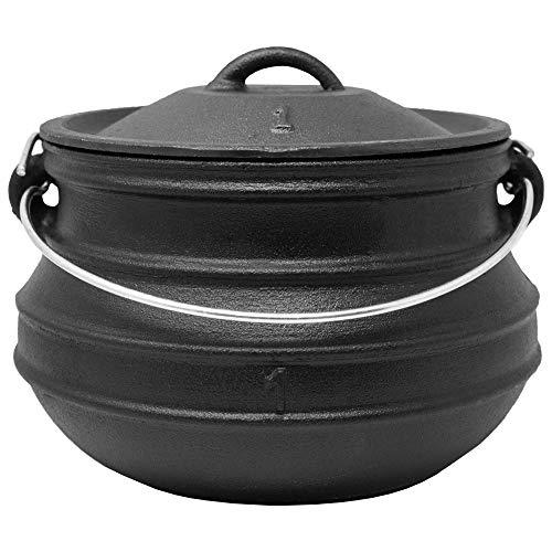 ToCis Big BBQ Potjie #1 Flat (ohne Füße) | Südafrikanischer Dutch Oven Gusseisen Koch-Topf | Größe: ca. 3 Liter