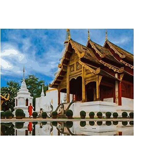 CCEEBDTO Puzzle 1500 Teile Erwachsene Puzzle Holzpuzzle Klassisches 3D Puzzle Thailändische Tempel-Buddha-Statuen-Gebäude-Strand-Thailand-Landschaft DIY Collectibles Moderne Wohnkultur 87X57Cm