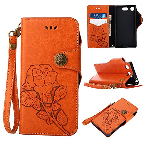 Lomogo [Xperia XZ1 Compact] Hülle Leder, Schutzhülle Brieftasche mit Kartenfach Klappbar Magnetverschluss Stoßfest Handyhülle Case für Sony Xperia XZ1 Compact - LOGUH21258 Orange -