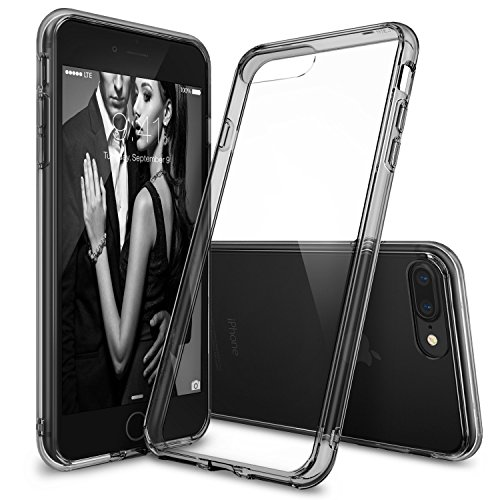 Cover FUSION per iPhone 7 Plus Crystal Clear nera semi-trasparente in TPU con tecnologia anti-urto