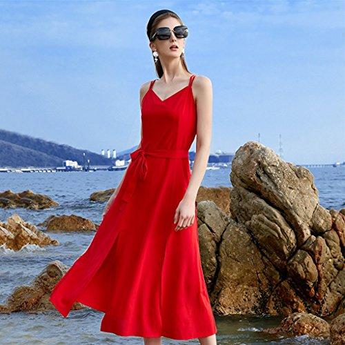 Meng wei shop vestito da vacanza al mare vestito rosso vestito boemo abito estivo in chiffon (size : xl)