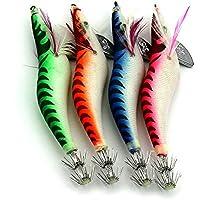 """LENPABY 8pcsGlow Squid Jigs Wood Shrimp Prawn Señuelos de pesca bagre siluro camarón 13.5cm / 5.31 """"/19.8g"""