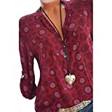 Damen Blumendruck Bluse,MEIbax Frauen Plus Size Print Langarm Polka Dot Knopf Bluse Pullover Baggy Tops Shirt,Lose V-Ausschnitt Chiffon Button Shirt