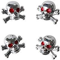 TOOGOO(R) 4 x Universal Tapa de Vastago de la valvula de aire del neumatico Con diseno de Craneo para Carro Coche Bici