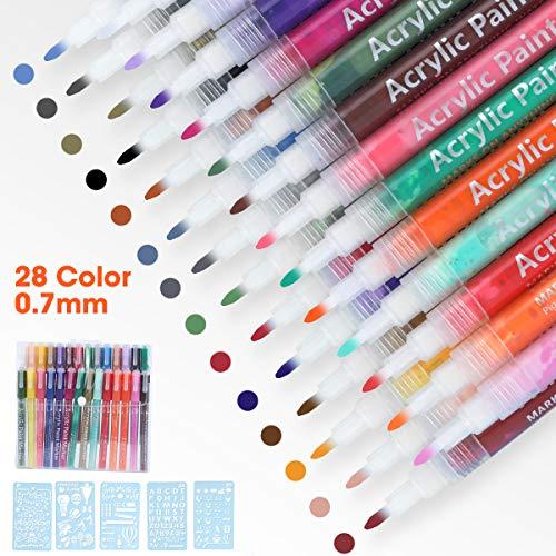 LAOYE 28 Farben Acrylstifte Marker Stifte mit 5 Malvorlagen, Acrylstifte 0,7mm Feine Spitze, Wasserfeste Acrylfarben Stifte für Steine, Holz, Leinwand, Kunststoff, Keramik, Rock-Malerei usw. -
