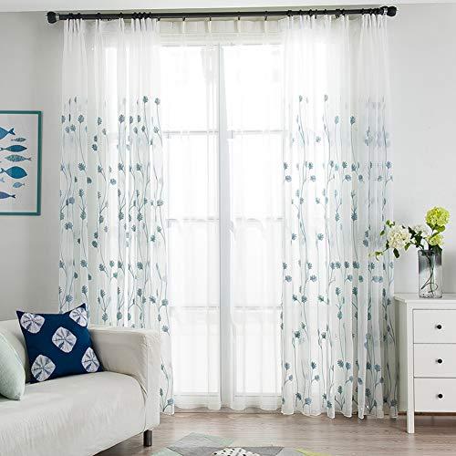 Gaze-vorhängen Bestickt, Banane-Rebe Weißer Voile Vorhang, Einfache Moderne Wohnzimmer Balkon Fenster Bildschirm 1-Panels-blau 250x200cm(98x79inch) -