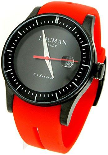 Locman Island/orologio uomo/quadrante nero/cassa acciaio e titanio/cinturino silicone rosso/ref. 0600BKKW-BKWSIR