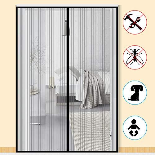 Zalava Fliegengitter Balkontür Fliegengitter Tür insektenschutz tür für Tür Balkontür Wohnzimmer Terrassentür 100x210 cm/110x220 cm /120x240cm/160x230cm, Klebmontage ohne Bohren (160x230cm, Schwarz)