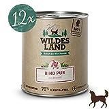 Wildes Land | Nassfutter für Hunde | Rind PUR | 12 x 800 g | mit Distelöl | Getreidefrei & Hypoallergen | Extra hoher Fleischanteil von 70% | Beste Akzeptanz und Verträglichkeit