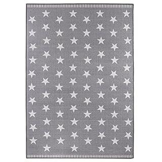andiamo Webteppich Flachgewebe Sternenteppich Stars Sternenhimmel - Wohnzimmer Schlafzimmer Flur – Oeko-Tex 100 schadstofffrei pflegeleicht, strapazierfähig wärmedurchlässig - hellgrau  133cm x 190cm