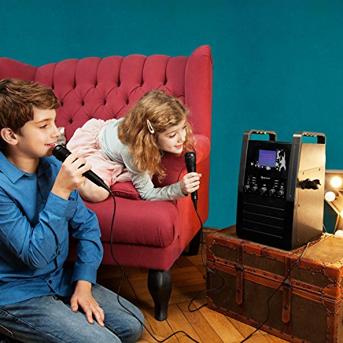 auna KA8P-V2 BK • Karaoke Anlage • Kinder Karaoke Player • Karaoke Set • 3,5 Zoll TFT-Display • 2 x dynamisches Mikrofon • integierter Lautsprecher • Video-Ausgang • CD+G-Player • CD-Player • MP3-fähig • Echo Effekt • A.V.C. Funktion • AUX-Eingang • schwarz - 2