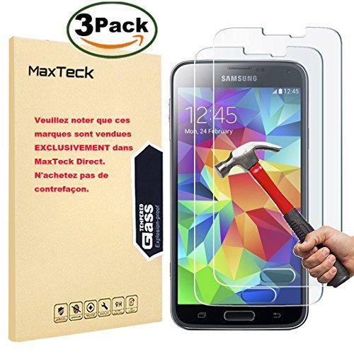 [3 Pièces] Verre Trempé Samsung Galaxy S5, MaxTeck Film Protection en Verre trempé écran Protecteur Vitre- ANTI RAYURES - SANS BULLES D'AIR -Ultra Résistant Dureté 9H pour Samsung Galaxy S5