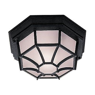 Searchlight 2942BK Hexagonal 6 sided Black IP44 Flush Porch / Outdoor Wall or Ceiling Lantern Light / Lighting - cheap UK light store.