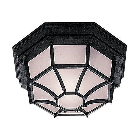 Searchlight 2942BK Hexagonal 6 sided Black IP44 Flush Porch / Outdoor Wall or Ceiling Lantern Light / Lighting
