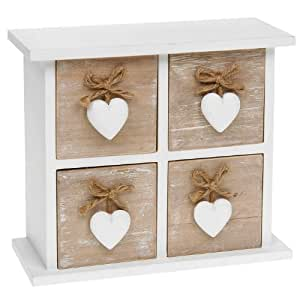 Shabby Chic Provence Heart Square Four Drawer Mini Chest