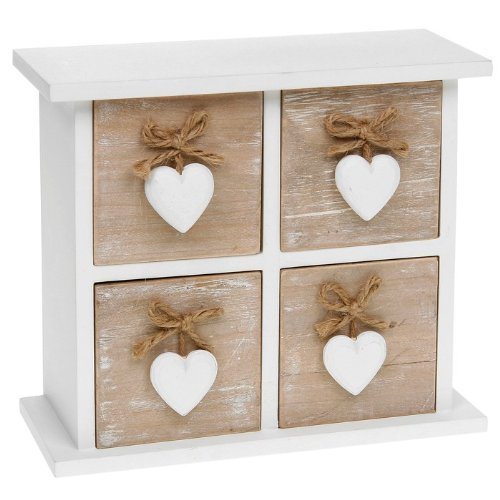 Shabby Chic Provence Heart Square Four Drawer Mini Chest by Shudehill Gifts (Bobs Möbel Kommoden)