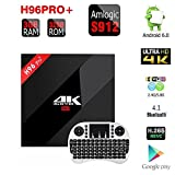 MK [H96 Pro Plus 3GB/32GB TV Box] Android 6.0 Amlogic S912 64bit Octa Core 4K Preinstalled Fully Loaded Double WiFi 2.4G/5.8G Bluetooth 4.1 1000M Ethernet Streaming Media Player (H96 Pro Plus 3GB/32GB + I8 Clavier Sans Fil Blanc)