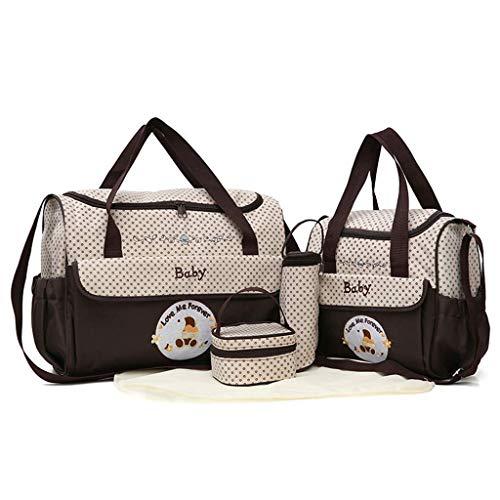 TKLLOVE Wickeltasche, 5 STÜCK Frauen Multifunktions Mumienbeutel Handtaschen Mutterschaft Kinderwagen Tasche (Kaffee, 5 STÜCK Rucksack)