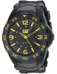 Cat Men's Quartz Watch with Black Dial Analogue Display and Black Rubber Strap LB.111.21.137