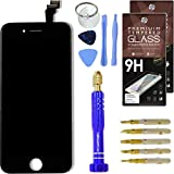Cell Phone DIY Black Replacement Screen for Apple iPhone 6 - Complete Grade AAA Digitizer and LCD Assembly, Repair Kit Inc. Premium Repair Tools + [2x] Hardened Tempered Glass Touchscreen Protectors