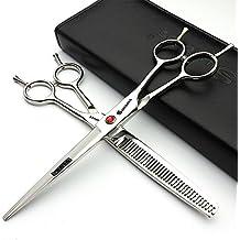 Japón profesión 7Inch estilista de pelo blanco tijeras peluquería Studio profesional Herramientas de Modelado de corte tijeras + tijeras de entresacar