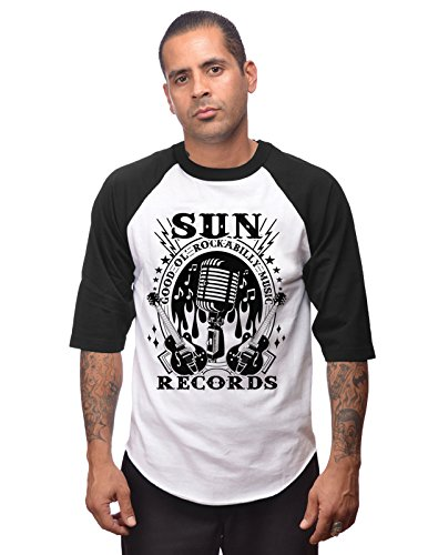 STEADY CLOTHING Rockabilly Music Raglan T-Shirt Homme, Blanc/Noir, FR : 3XL (Taille Fabricant : XXXL)