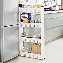 SoBuy Estanteria para nichos, Armario para nichos, Carrito para nichos, carrito de cocina, carrito de orden FRG42-W