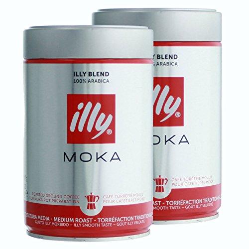 Illy Moka, 100 % Arabica Kaffee, Gemahlener Röstkaffee, Espresso, Normale Röstung, Dose, 2 x 250 g