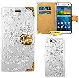 Huawei Ascend G7 Handy Tasche, FoneExpert® Bling Luxus Diamant Hülle Wallet Case Cover Hüllen Etui Ledertasche Premium Lederhülle Schutzhülle für Huawei Ascend G7 (Weiß)