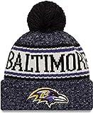New Era ONF18 Sport Knit Bommelmütze Baltimore Ravens Schwarz Lila, Size:ONE Size