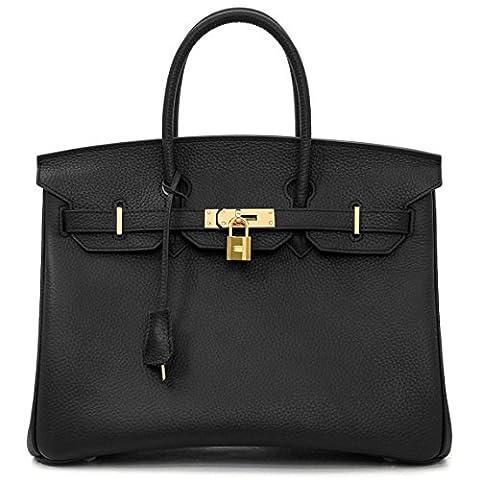 Macton European and American Classic Padlock Genuine Leather Top Handle Handbags Mc-1329 (35CM, Black)