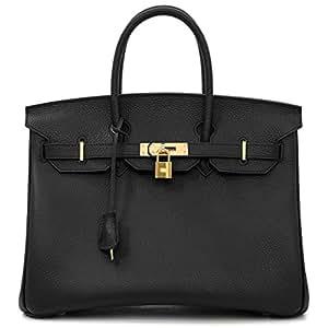 Macton European and American Classic Padlock Genuine Leather Top Handle Handbags Mc-1329 (30CM, Black)