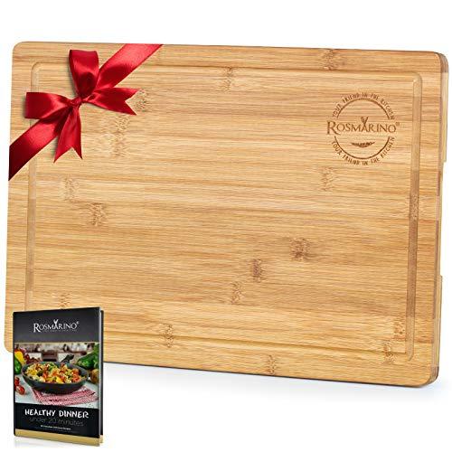 Rosmarino Tabla de Cortar Cocina de Bambú 45x30x2 cm - Tabla Cocina con Ranura Para Jugos