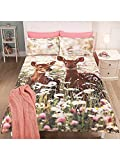Stylish George Home FOREST FAWN DEER Duvet Set DOUBLE - 200 x 200 cm and two pillowcase 48 x 74 cm