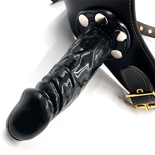 Leder Strap On Dildos Slip Unterwäsche Harness (3 Dildos Schwarz) - 3