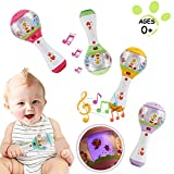 WISHTIME Musical Instrument Rattle Baby Toy BPA Free Shake and Grap Baby Hand Development Rhythm Stick with flasing light For Newborn Toddler (Colour in Random)