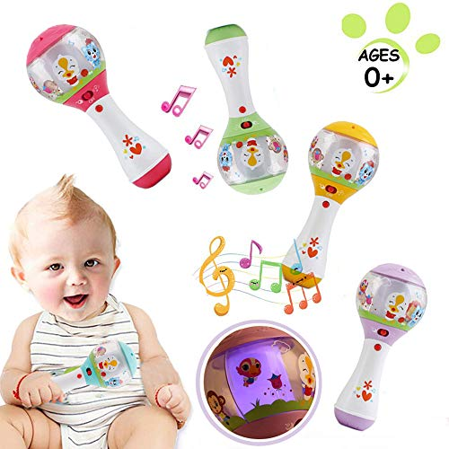 WISHTIME Baby Musical Instrument Rattle Toy Early Education 3 Month Old Baby Plastic Dynamic Rhythm Stick Hand Mucial Rattle For Baby Kids Children Boy Girl (Colour in Random)