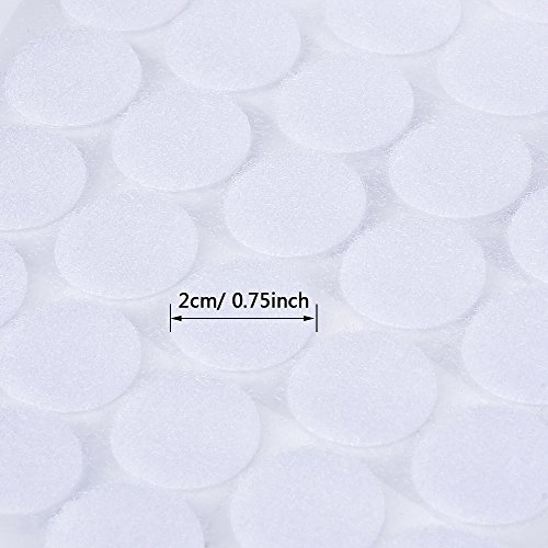 Outus 500 Stück Selbstklebende Hakenband und Flauschband Klettband PunkteBänder, Weiß