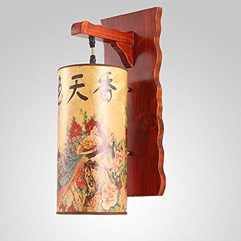 XiangMing Luces de pared de madera antiguos vitela luces luces luces de arte de madera dormitorio salón restaurante corredor apliques de pared