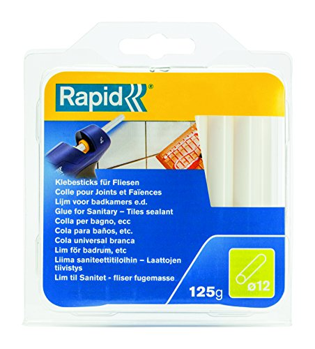 Rapid, 40107359, Bâtons de colle thermofusible, Sanitaire, Blanc, ø12mm, Longueur 94mm, 125g