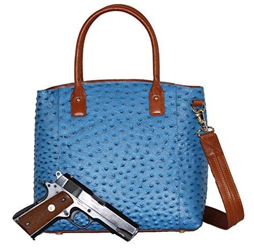 Gun Tote'n Mamas GTM Umhängetasche mit versteckter Straußstadt, links und rechts, Orange (blau), Large -