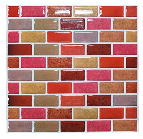 "Tile & Sticker 3D Wall Stickers Peel and Stick on Tiles for Kitchen/Bathrooms / Living Rooms/Bedrooms Mosaic Tiles, 9""x9"", 10 pcs Pack"