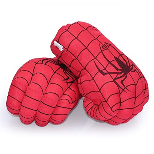 uhe Incredible Hulk Smash Hands + Spider Man Plüschhandschuhe Spiderman Performing Props Toys (Color : Red) ()