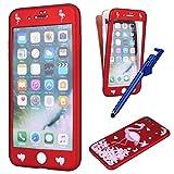 MoreChioce iPhone 8 Plus Hülle,iPhone 7 Plus 360 Grad Hülle, TPU Silikon 360 Grad Komplettschutz Handyhülle mit Gehärtetes Glas Full Body Rubber Bumper für iPhone 7 Plus/8 Plus (Blumen Flamingo)