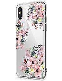 Funda iPhone X XS MAX Carcasa Silicona Transparente Protector TPU Peonía Girasol Ultra-Delgado Anti-Arañazos Case para Teléfono Apple iPhone XS 2018 Caso Caja Estuche